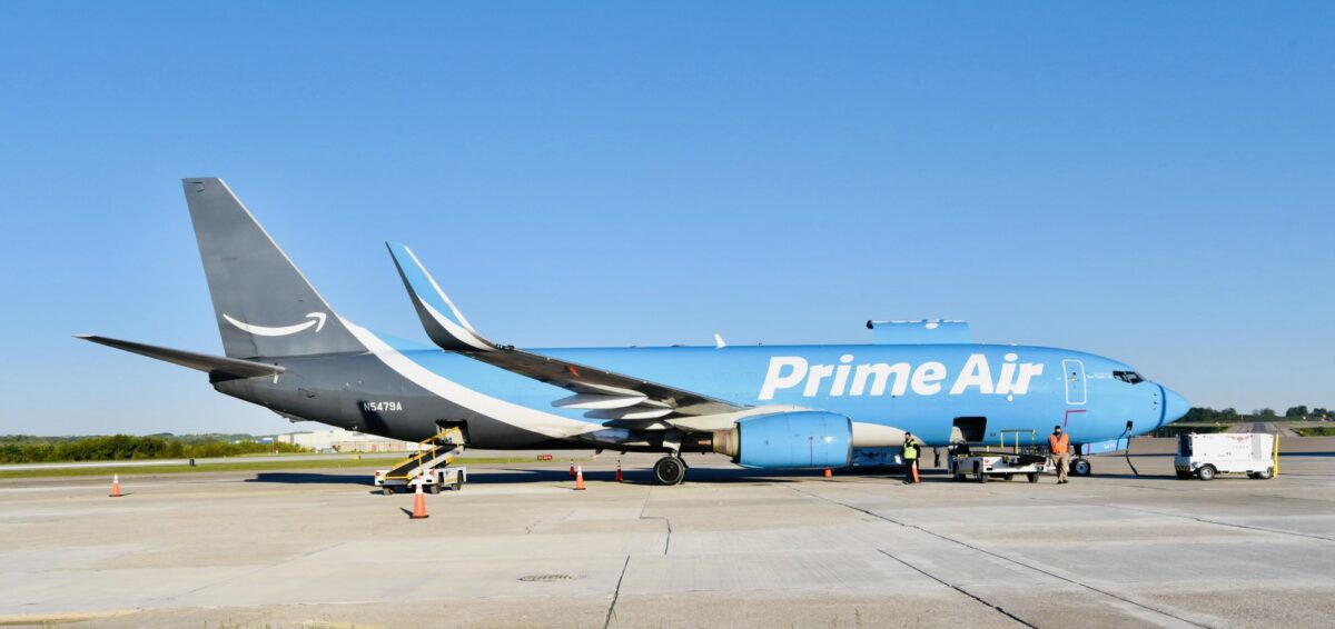 Workers load the first outbound amazon air flight on 5 13 2021. photo credit blue sky pit