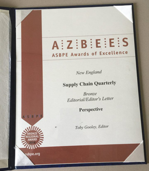 Photo: ASBPE Azbee Award for Editorial/Editors Letter