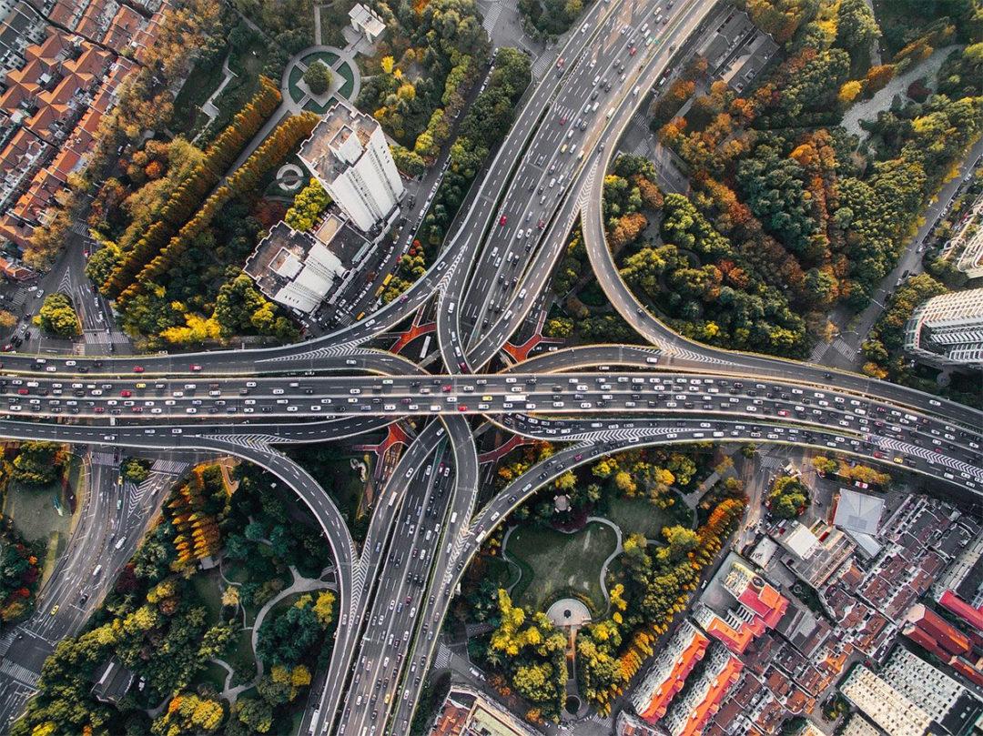 Highway interchange seen from above