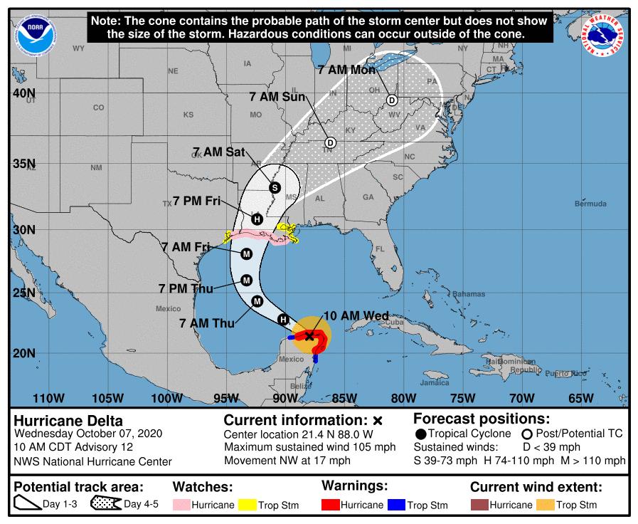 Hurricane delta 151609 5day cone no line and wind
