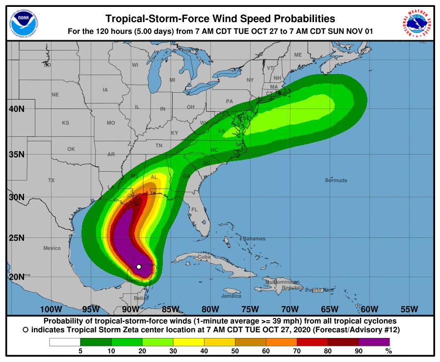hurricane zeta wind track
